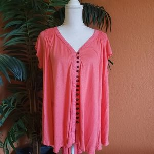 NWT Free People Azalea Oversized Button Up T Coral